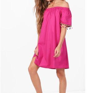 NWT ASOS cold shoulder Pom Pom tassel shift dress